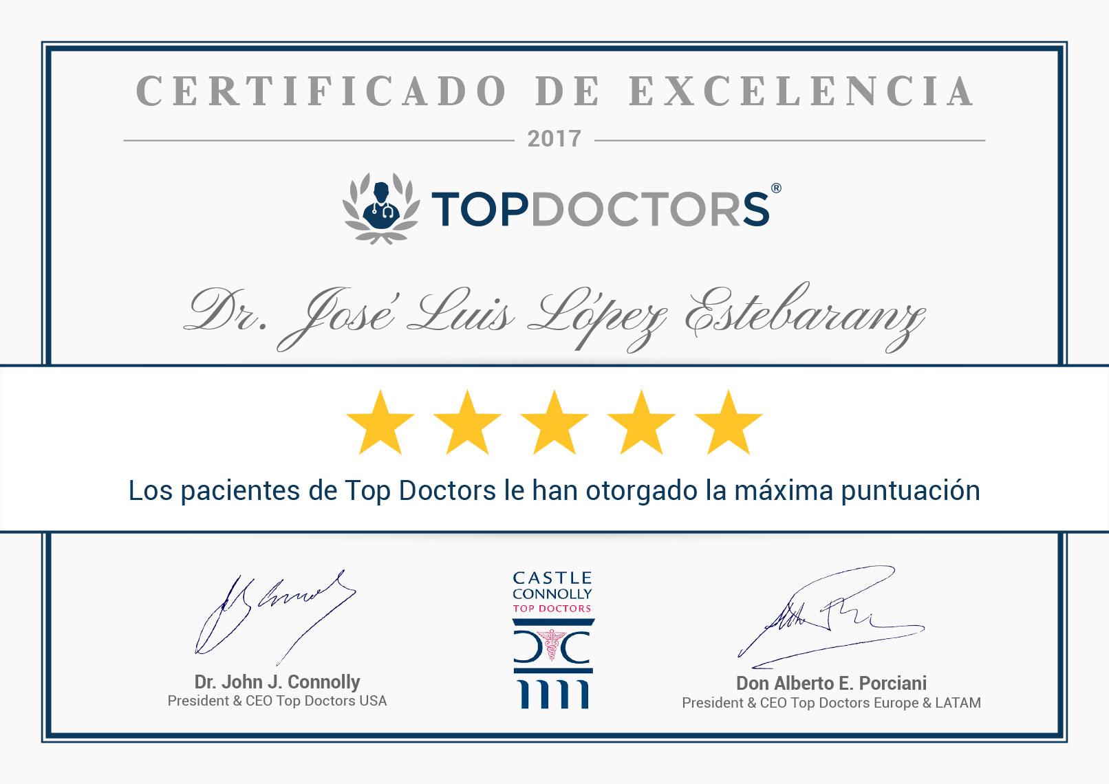 certificado excelencia topdotors 2017 dr lopez estebaranz